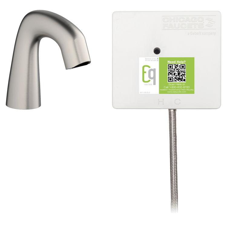 View 2 of Chicago Faucet EQ-A11A-41ABBN Chicago Faucets EQ-A11A-41ABBN EQ Brushed Nickel EQ Curved Series Lavatory Sink Faucet with Hands-free Infrared Detection