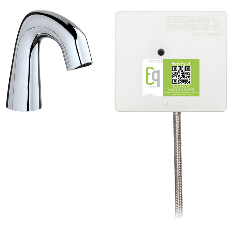 View 2 of Chicago Faucet EQ-D11A-11ABCP-MP Chicago Faucets EQ-D11A-11ABCP-MP EQ Chrome EQ Curved Series Lavatory Sink Faucet with Hands-free Infrared Detection - Master Pack of 6