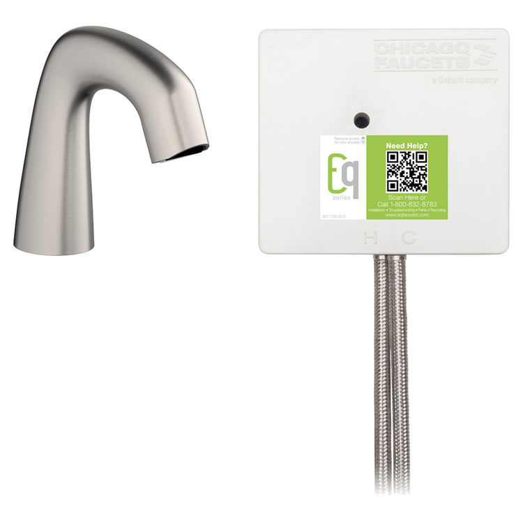 View 2 of Chicago Faucet EQ-A11B-22ABBN Chicago Faucets EQ-A11B-22ABBN EQ Brushed Nickel EQ Curved Series Lavatory Sink Faucet with Hands-free Infrared Detection