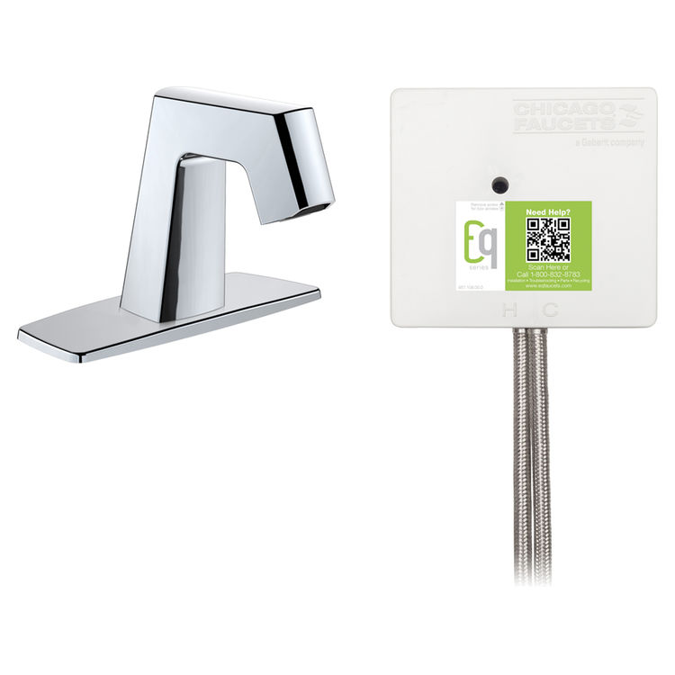 View 2 of Chicago Faucet EQ-B12A-52ABCP Chicago Faucets EQ-B12A-52ABCP EQ Chrome EQ Angular Series Lavatory Sink Faucet with Hands-free Infrared Detection