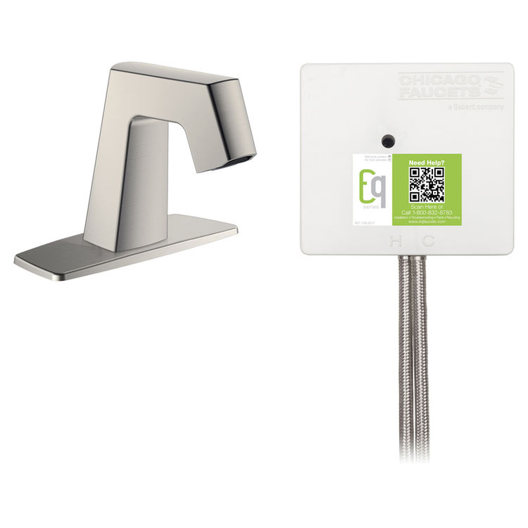View 2 of Chicago Faucet EQ-B12A-42ABBN Chicago Faucets EQ-B12A-42ABBN EQ Brushed Nickel EQ Angular Series Lavatory Sink Faucet with Hands-free Infrared Detection