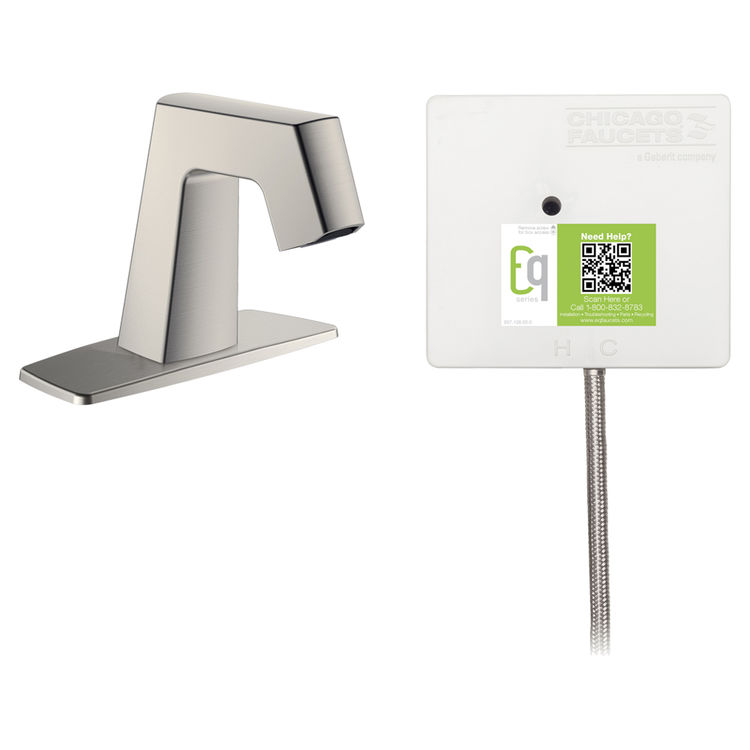 View 2 of Chicago Faucet EQ-B12A-11ABBN Chicago Faucets EQ-B12A-11ABBN EQ Brushed Nickel EQ Angular Series Lavatory Sink Faucet with Hands-free Infrared Detection