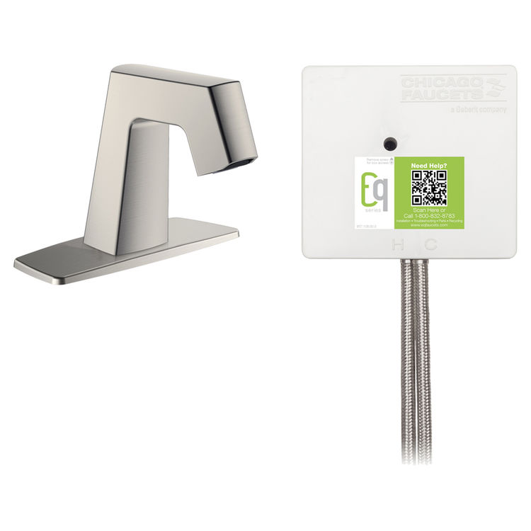 View 2 of Chicago Faucet EQ-B12B-22ABBN Chicago Faucets EQ-B12B-22ABBN EQ Brushed Nickel EQ Angular Series Lavatory Sink Faucet with Hands-free Infrared Detection