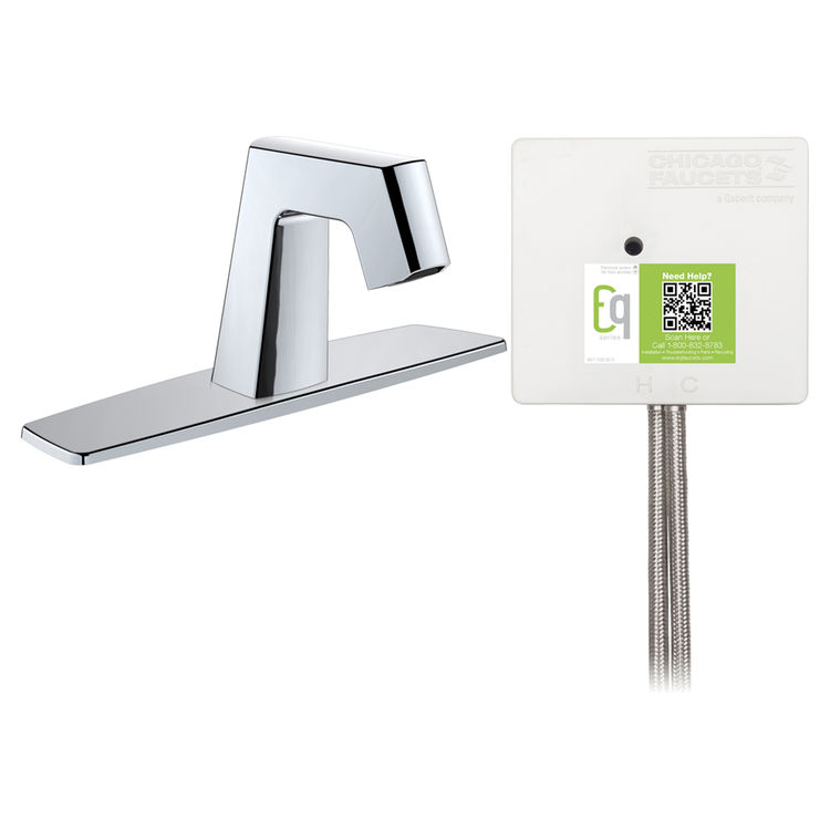 View 2 of Chicago Faucet EQ-B13A-13ABCP Chicago Faucets EQ-B13A-13ABCP EQ Chrome EQ Angular Series Lavatory Sink Faucet with Hands-free Infrared Detection