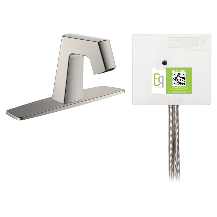 View 2 of Chicago Faucet EQ-B13B-21ABBN Chicago Faucets EQ-B13B-21ABBN EQ Brushed Nickel EQ Angular Series Lavatory Sink Faucet with Hands-free Infrared Detection
