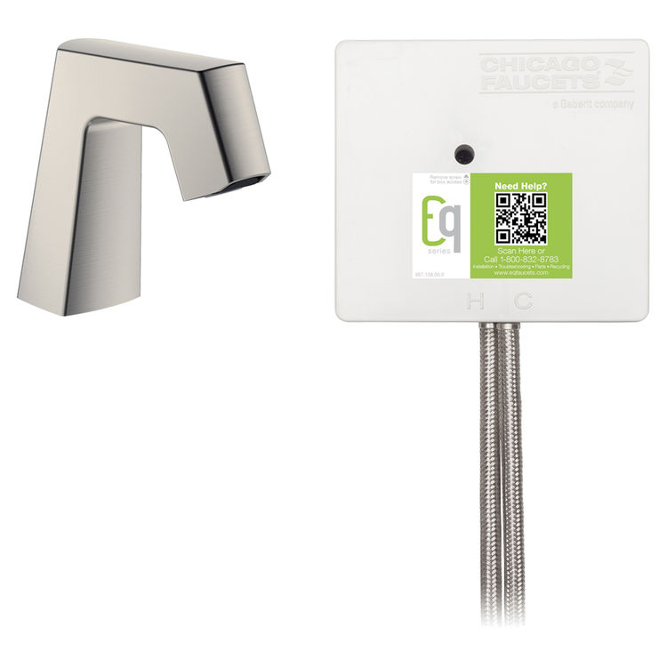 View 2 of Chicago Faucet EQ-B11A-12ABBN Chicago Faucets EQ-B11A-12ABBN EQ Brushed Nickel EQ Angular Series Lavatory Sink Faucet with Hands-free Infrared Detection