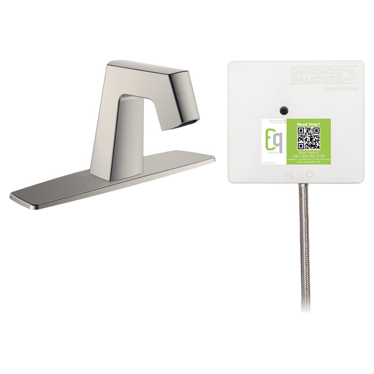 View 2 of Chicago Faucet EQ-B11B-23ABBN Chicago Faucets EQ-B11B-23ABBN EQ Brushed Nickel EQ Angular Series Lavatory Sink Faucet with Hands-free Infrared Detection