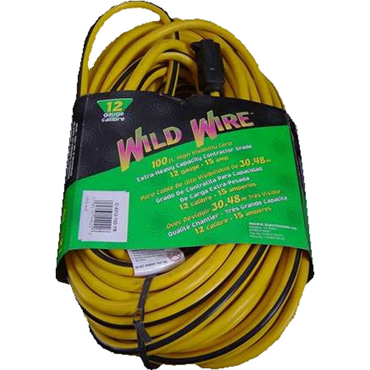 Voltec 05-00125 100' Yellow Extension Cord with Lighted 3-way End