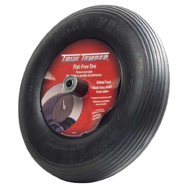 Ames FFTCC Flat Free Wheelbarrow Tire, For Use With Wheelbarrows, 8 in, Solid Polyurethane