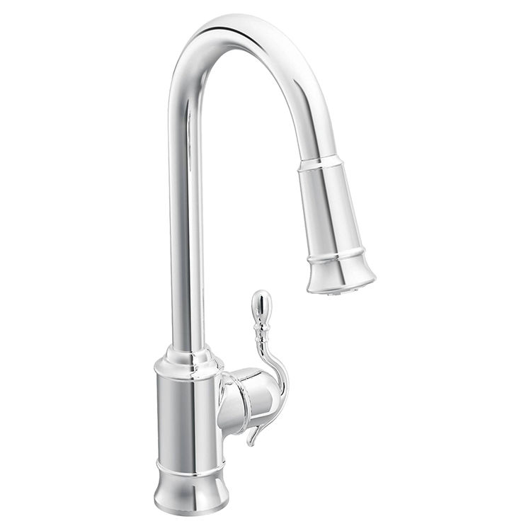 Moen 7615C Moen 7615C Woodmere One Handle Pull-down Kitchen Faucet Chrome
