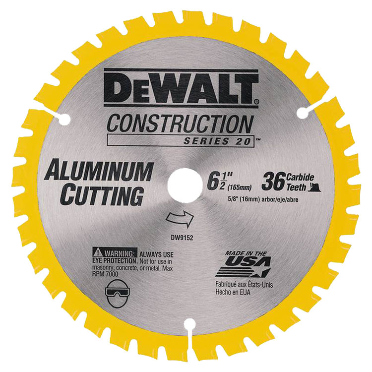 Dewalt DW9152 Dewalt DW9152 Circular Saw Blade, 6-1/2in Dia x 0.039in T, 36 Teeth, 5/8in Arbor