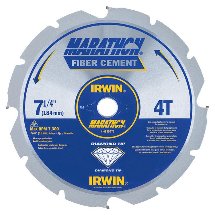 Irwin 4935473 Marathon 4935473 Circular Saw Blade, 7-1/4 in Dia, 4 Teeth, 5/8 in Arbor