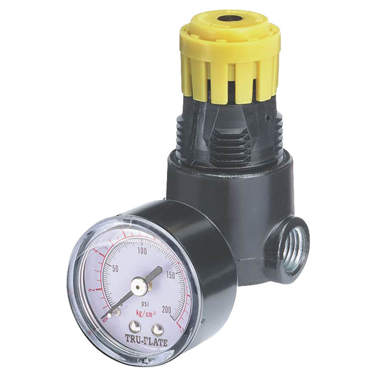 Tru-Flate 24-444 Tru-Flate 24-444 Mini Air Line Regulator with Pressure Gauge, 1/4 in NPTF, 13 scfm, 2.9 in H
