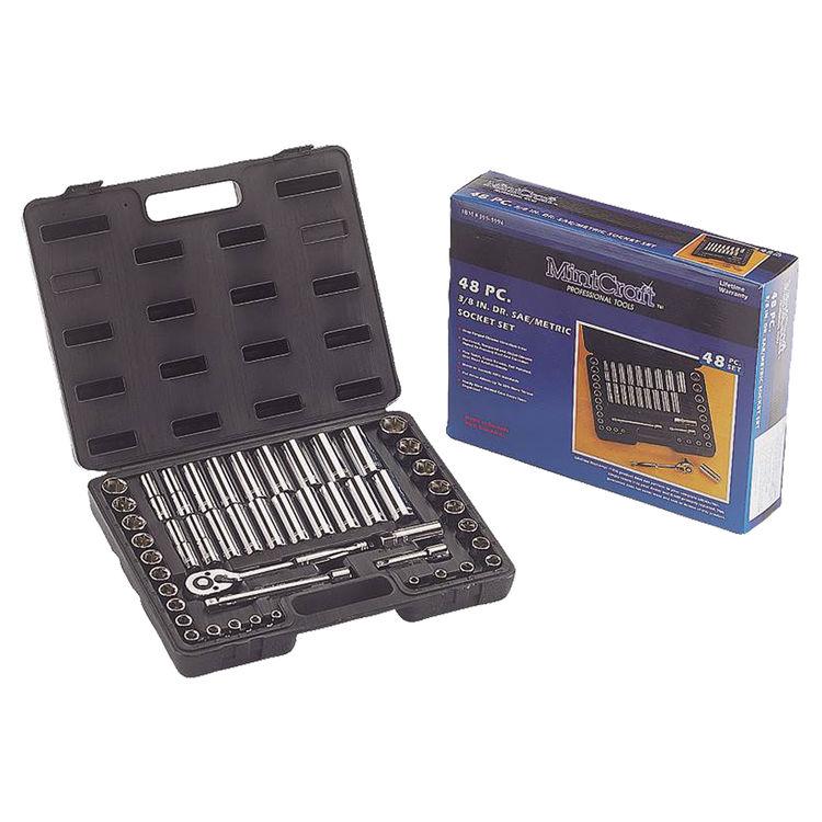 Mintcraft TS-473-3/8SA/ME Mintcraft TS-473 3/8 Drive SAE/Metric, Socket Wrench Set, 48 Piece