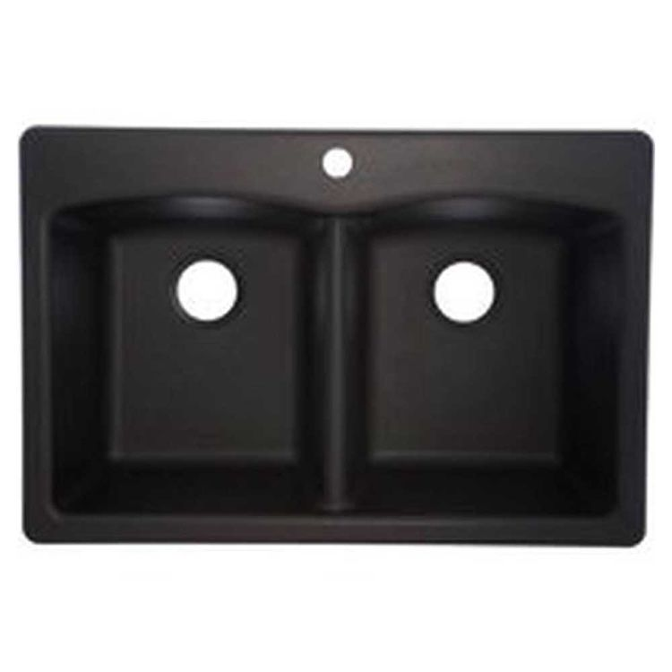 View 3 of Franke EDOX33229-1 Franke Consumer EDOX33229-1 Kitchen Sink, 22 in H X 33 in W X 9 in D, Composite Granite, Onyx