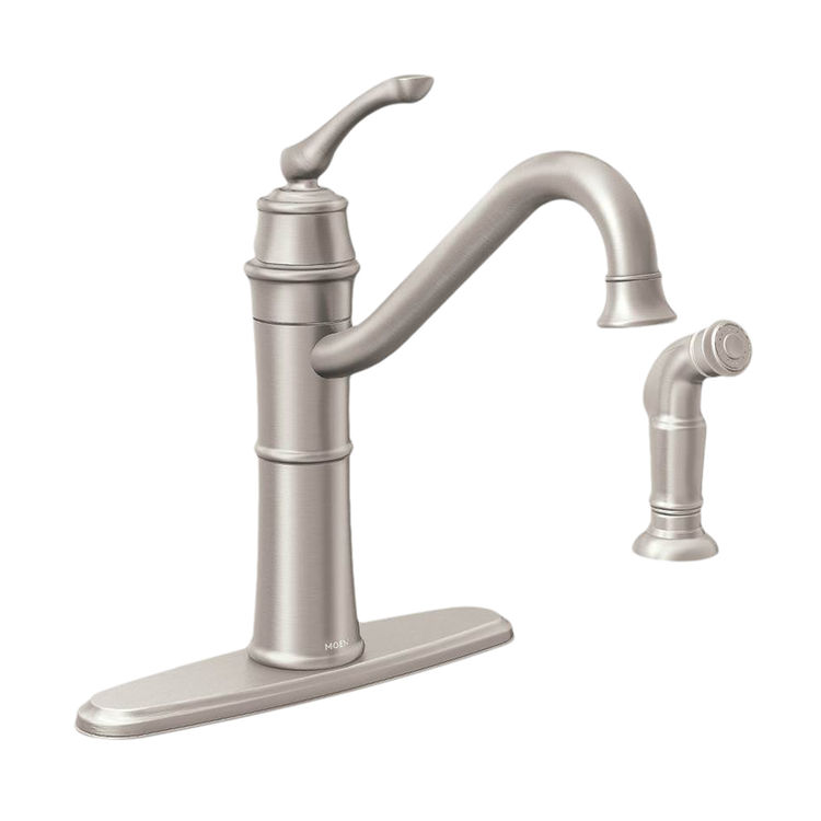 Moen 87999SRS Moen Wetherly Kitchen Faucet, 9-1/4 in X 8-5/16 in Spout, 4 in Center, Lever Handle, Stainless