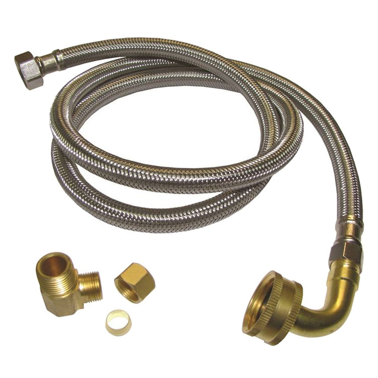 Plumb Pak PP23834 Plumb Pak PP23834 Dishwasher Connector, 3/8 in Compression x 3/8 in MIP Elbow, Stainless Steel