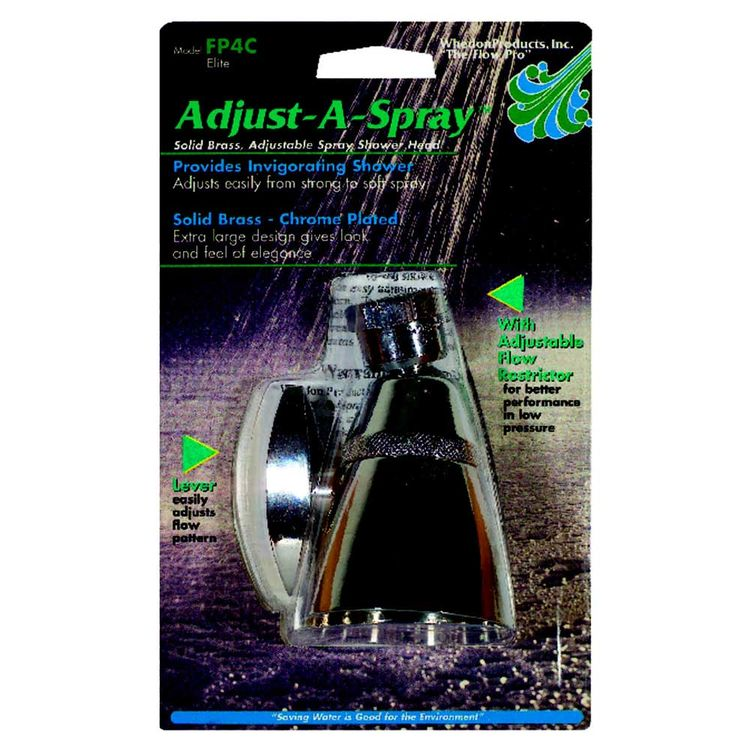 Whedon FP4C Whedon FP4C Adjust-A-Spray Standard Shower Head, 2.5 gpm, 1/2 in, 5 Spray, 2 in Dia