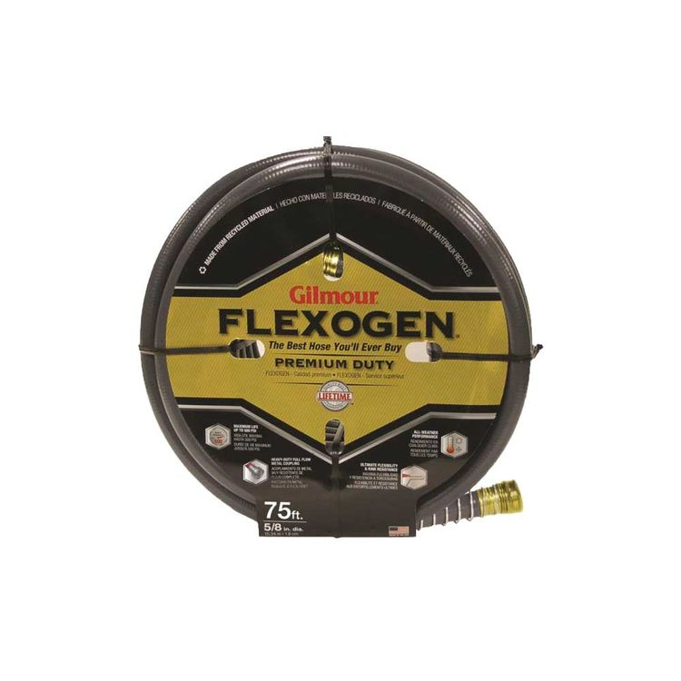 Gilmour 1058075 Flexogen 10 Lightweight Garden Hose With Full -Flo Machined Metal Couplings, 5/8 in ID, 75 ft L