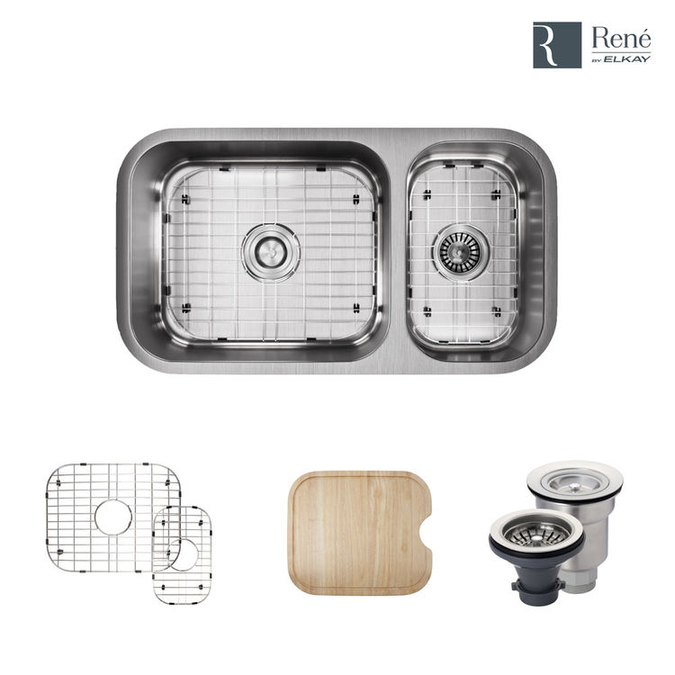 Rene By Elkay R1 1024bl 16 Offset Double Bowl Undermount