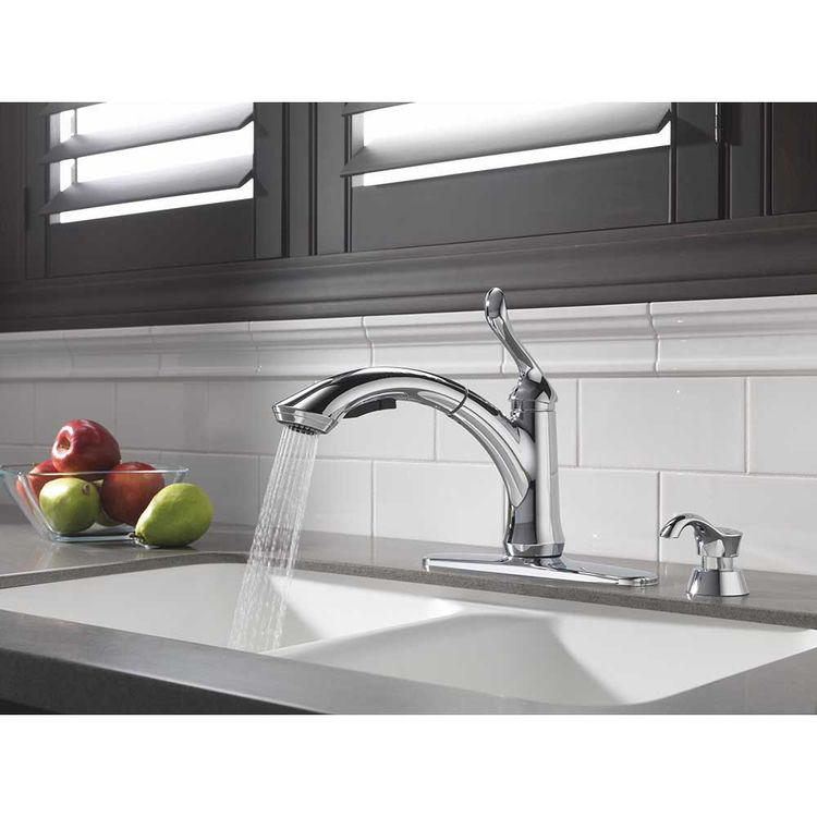 View 5 of Delta 4353-DST Delta 4353-DST Linden Single Handle Pull-Out Kitchen Faucet (Chrome)