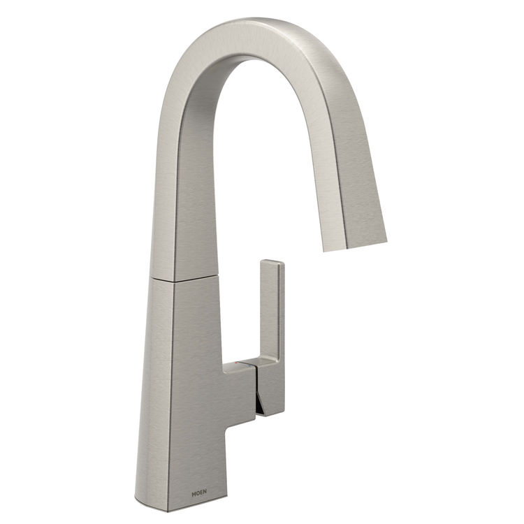 View 2 of Moen S55005SRS Moen S55005SRS Nio Single-Handle Bar Prep Faucet, Spot Resist Stainless (Handle Accent Included)