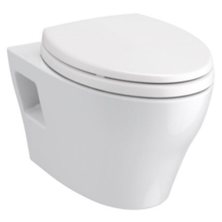 Toto CWT4283046CMFG#MS TOTO EP WASHLET+ S500e Wall-Hung Toilet - 1.28 GPF & 0.9 GPF, CWT4283046CMFG#MS - Matte Silver