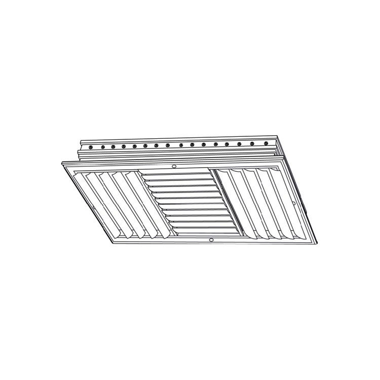 View 3 of Shoemaker CB30-0-8X4 8X4 Soft White Three-Way Adjustable Curved Blade Diffuser (Aluminum) Opposed Blade Damper- Shoemaker CB30-0
