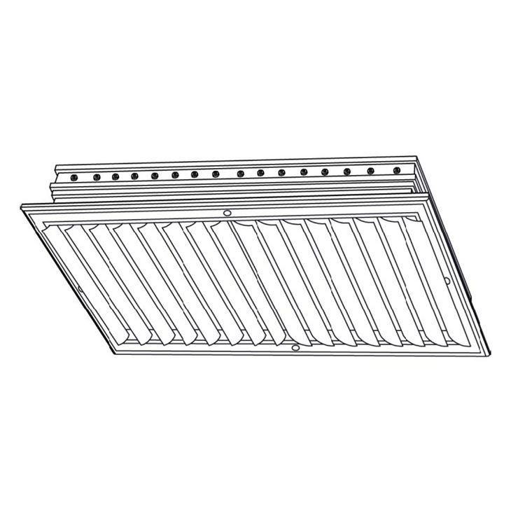 View 3 of Shoemaker CB20-20X8 20X8 Soft White Two-Way Adjustable Curved Blade Diffuser (Aluminum) - Shoemaker CB20