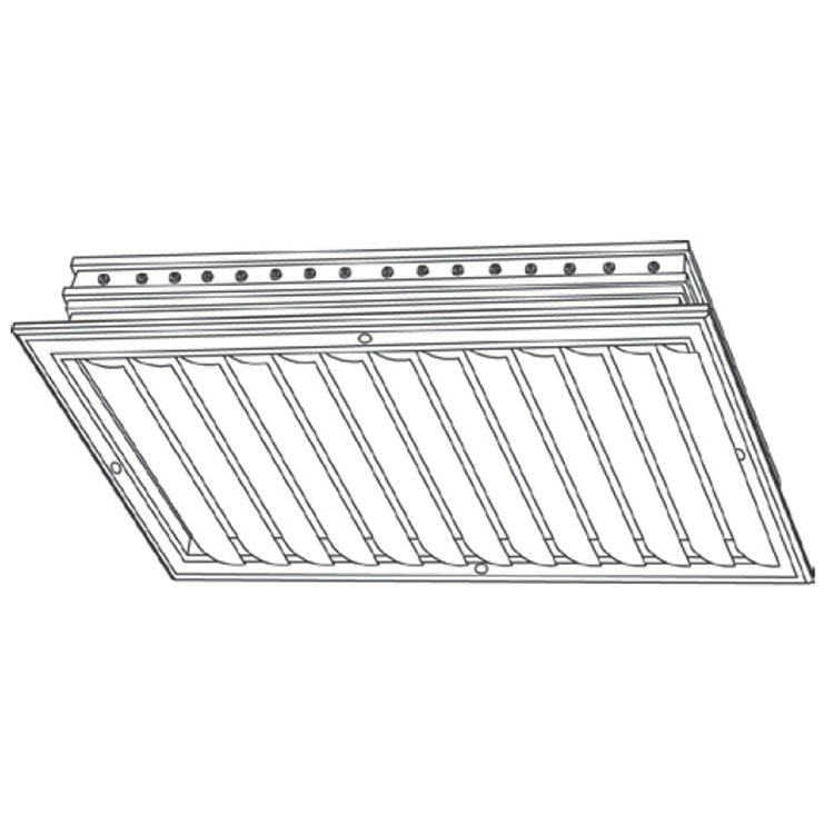 View 3 of Shoemaker CB10-14X14 14X14 Soft White One-Way Adjustable Curved Blade Diffuser (Aluminum) - Shoemaker CB10