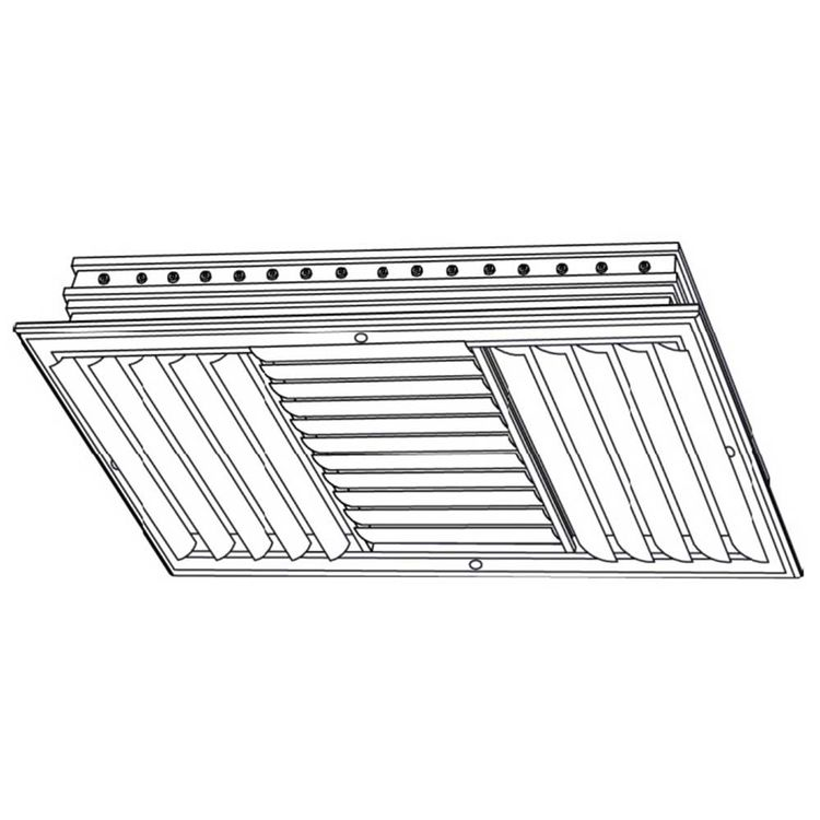 View 3 of Shoemaker CB30-24X12 24X12 Soft White Three-Way Adjustable Curved Blade Diffuser (Aluminum) - Shoemaker CB30