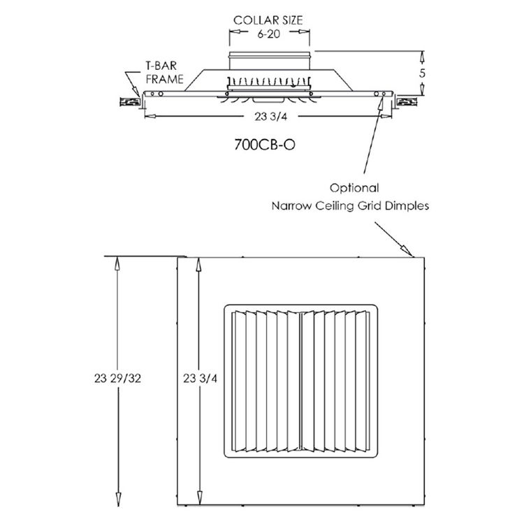 View 4 of Shoemaker 700CB40-6X6-6 6X6-6 Soft White Adjustable Curved Blade Diffuser in T-Bar Panel - Shoemaker 700CB Series
