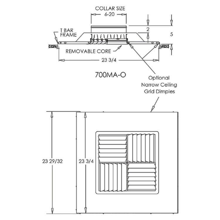 View 3 of Shoemaker 700MA-12X12-7 12X12-7 Soft White Modular Core Diffuser in T-Bar Panel - Shoemaker 700MA