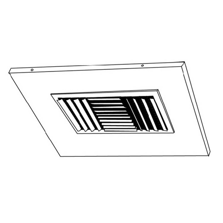 View 3 of Shoemaker 700CB40-0-8X8-7 8X8-7 Soft White Adjustable Curved Blade Diffuser in T-Bar Panel Opposed Blade Damper -Shoemaker 700CB40-0 Series