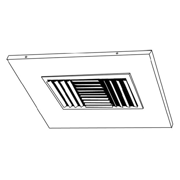 View 4 of Shoemaker 700CB40-0-12X12-8 12X12-8 Soft White Adjustable Curved Blade Diffuser in T-Bar Panel Opposed Blade Damper - Shoemaker 700CB40-0 Series