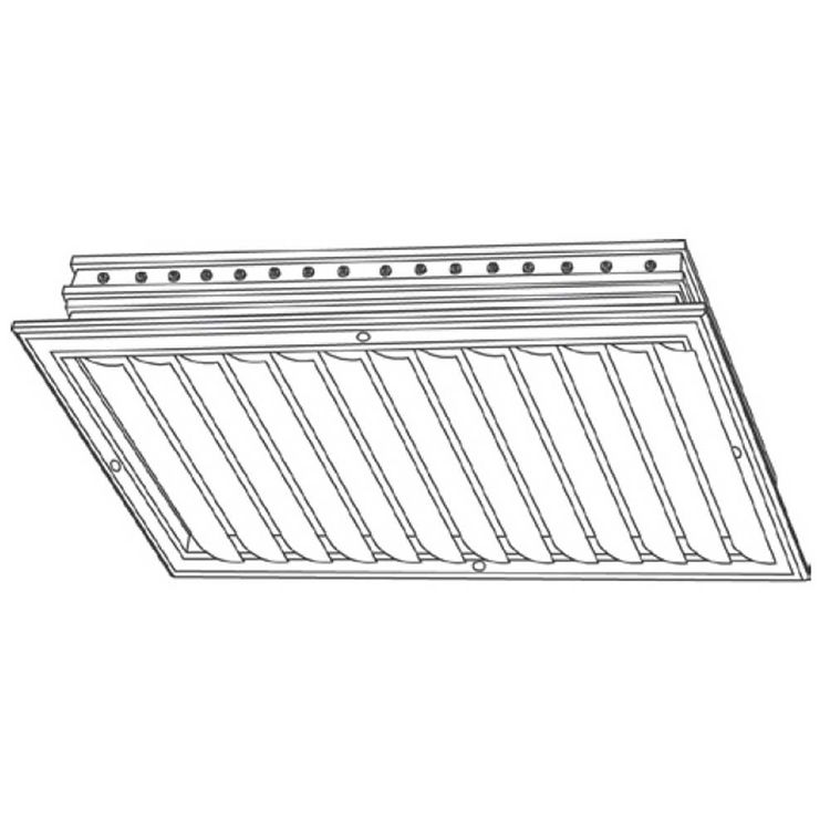 View 3 of Shoemaker CB10-36X16 36X16 Soft White One-Way Adjustable Curved Blade Diffuser (Aluminum) - Shoemaker CB10
