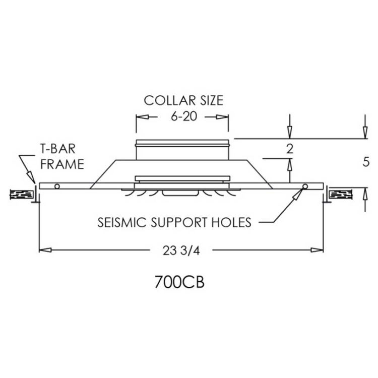 View 3 of Shoemaker 700CB40-0-14X14-7 14X14-7 Soft White Adjustable Curved Blade Diffuser in T-Bar Panel Opposed Blade Damper- Shoemaker 700CB40-0 Series