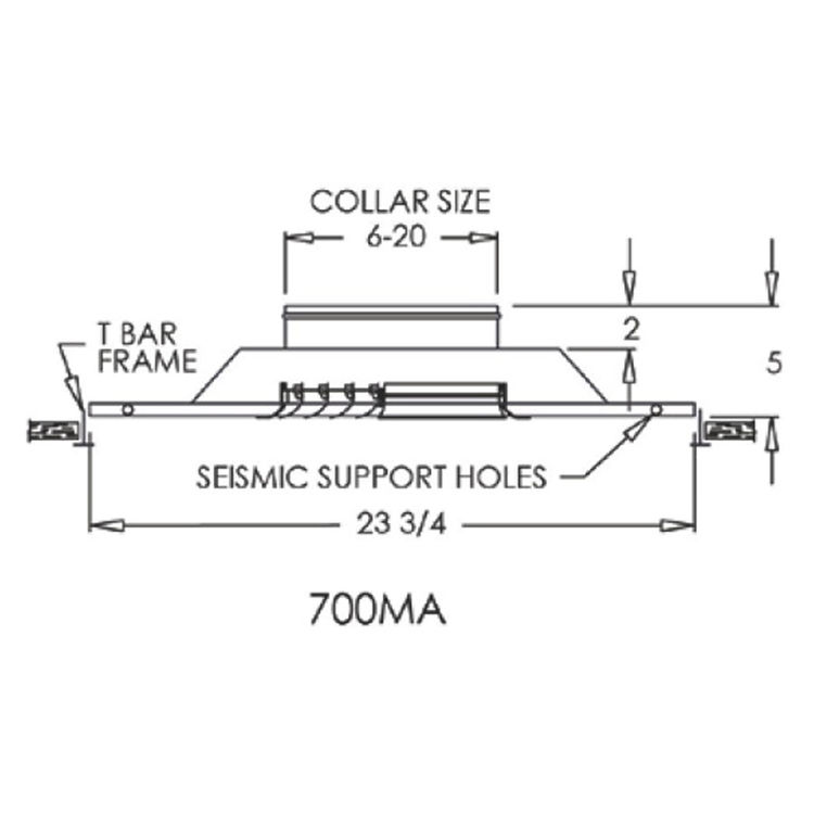 View 3 of Shoemaker 700MA0-16X16-8 16X16-8 Soft White Modular Core Diffuser in T-Bar Panel Opposed Blade Damper- Shoemaker 700MA-0
