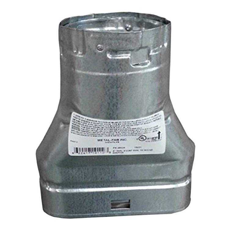 Metal-Fab 4MOR Metal-Fab 4MOR 4 Inch Oval to 4 Inch Round Type B Chimney Pipe Adaptor