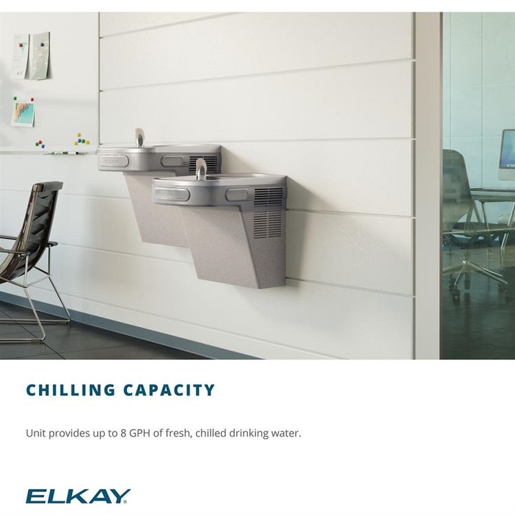 View 4 of Elkay EZSTL8LC Elkay EZSTL8LC Versatile Cooler - Bi-Level, Non-Filtered, 8 GPH, Wall Mount, ADA, Light Gray Granite