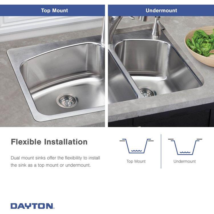 View 5 of Elkay DSESR127224 Elkay DSESR127224 Dayton Stainless Steel Equal Double Bowl Drop-in Sink, Satin