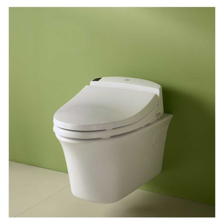 View 3 of Toto CT486FG#01 Toto Maris Wall-Hung Elongated Toilet Bowl with Skirted Design and CeFiONtect, Cotton White - CT486FG#01