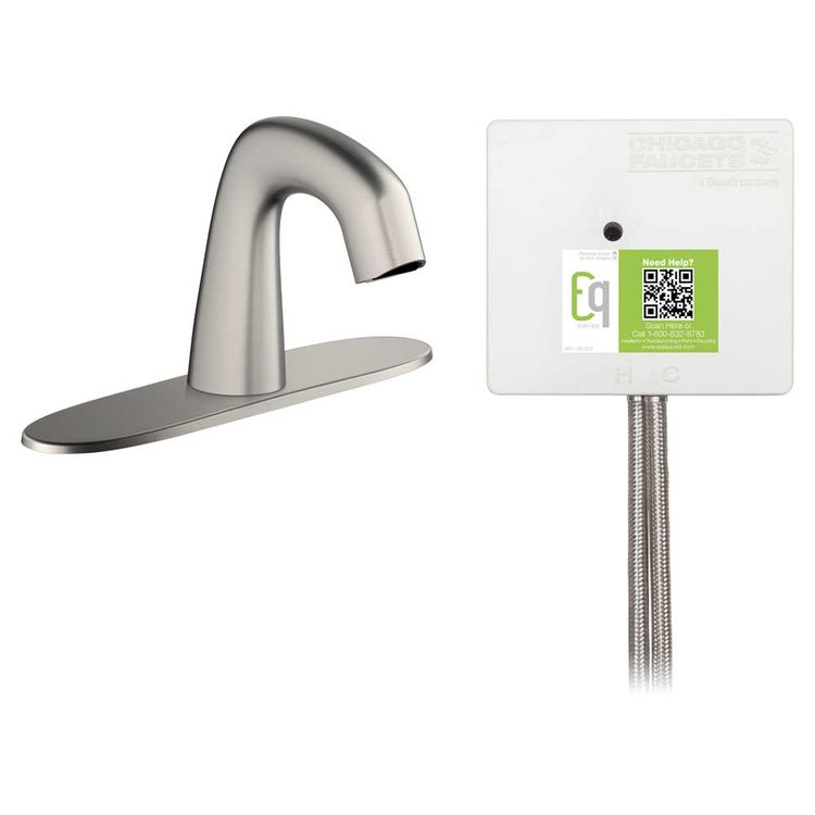 View 3 of Chicago Faucet EQ-A13B-22ABBN Chicago Faucets EQ-A13B-22ABBN EQ Brushed Nickel EQ Curved Series Lavatory Sink Faucet with Hands-free Infrared Detection