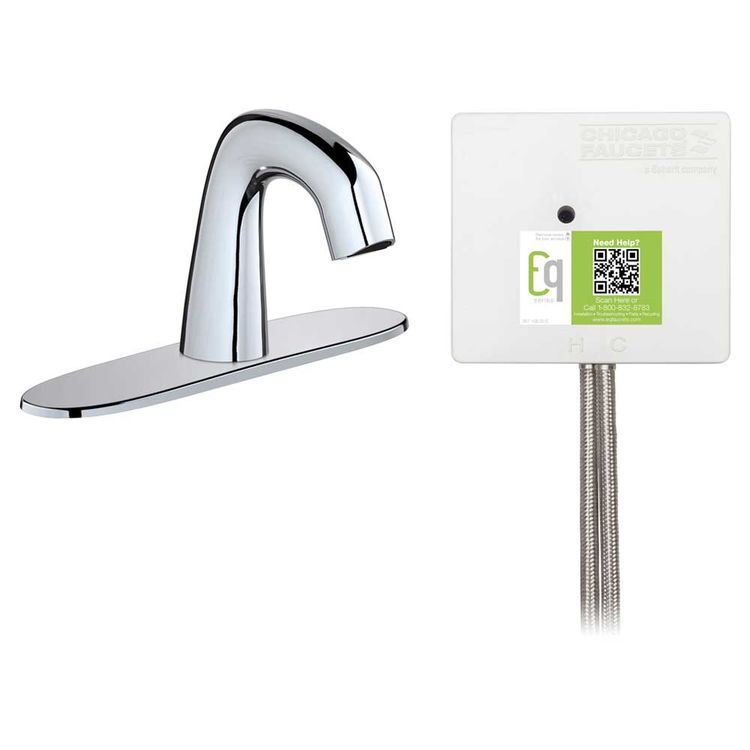 View 3 of Chicago Faucet EQ-D13B-21ABCP Chicago Faucets EQ-D13B-21ABCP EQ Chrome EQ Curved Series Lavatory Sink Faucet with Hands-free Infrared Detection