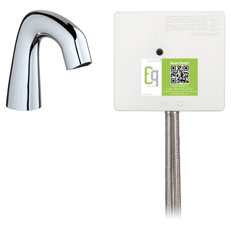 View 3 of Chicago Faucet EQ-D11A-41ABCP Chicago Faucets EQ-D11A-41ABCP EQ Chrome EQ Curved Series Lavatory Sink Faucet with Hands-free Infrared Detection