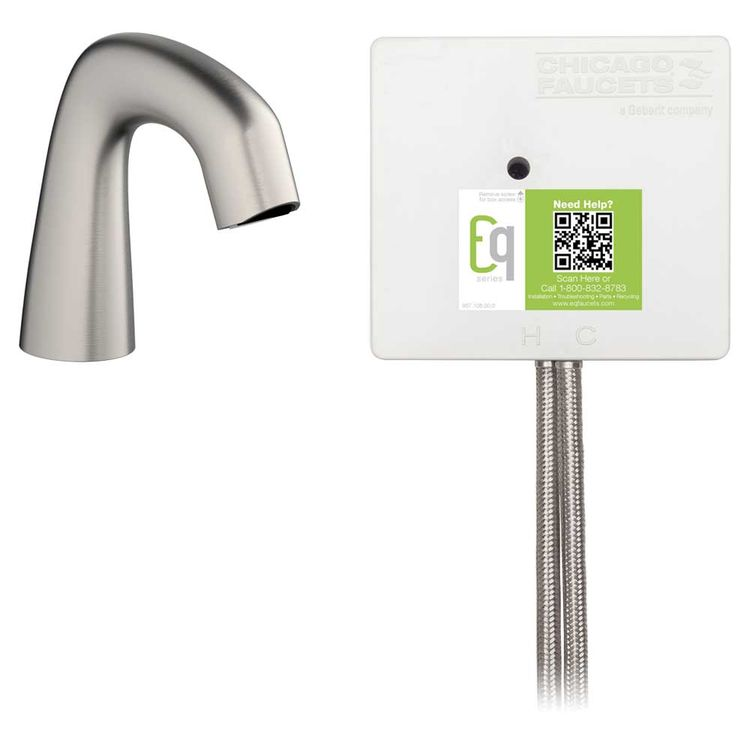 View 3 of Chicago Faucet EQ-A11A-11ABBN Chicago Faucets EQ-A11A-11ABBN EQ Brushed Nickel EQ Curved Series Lavatory Sink Faucet with Hands-free Infrared Detection