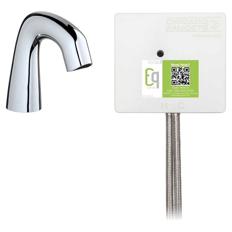 View 3 of Chicago Faucet EQ-A11B-23ABCP Chicago Faucets EQ-A11B-23ABCP EQ Chrome EQ Curved Series Lavatory Sink Faucet with Hands-free Infrared Detection