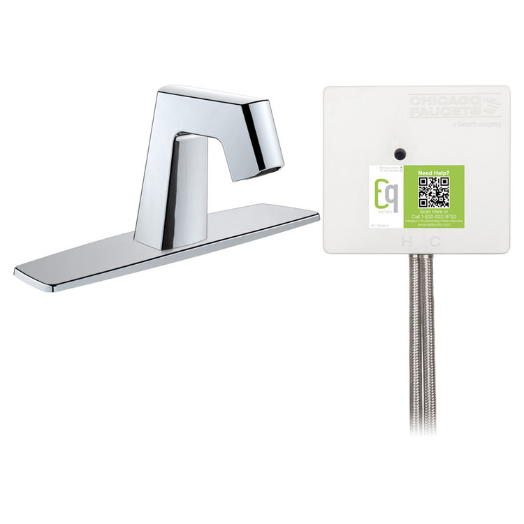 View 3 of Chicago Faucet EQ-B13A-12ABCP Chicago Faucets EQ-B13A-12ABCP EQ Chrome EQ Angular Series Lavatory Sink Faucet with Hands-free Infrared Detection