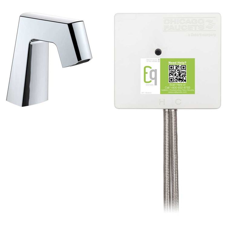 View 3 of Chicago Faucet EQ-B11A-31ABCP Chicago Faucets EQ-B11A-31ABCP EQ Chrome EQ Angular Series Lavatory Sink Faucet with Hands-free Infrared Detection