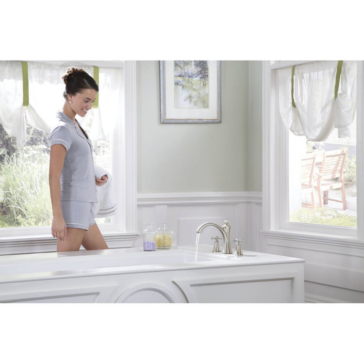 View 3 of Moen T657NL Moen T657NL Wynford Polished Nickel Roman Tub Faucet Trim